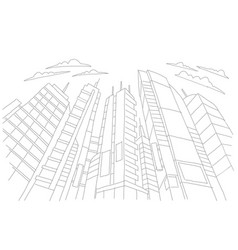 Big city skyscraper sketch buildings gray line vector