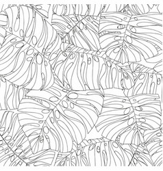 black and white seamless pattern with tropical vector image