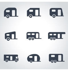 black trailer icon set vector image