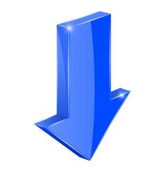 Blue down arrow 3d web icon vector