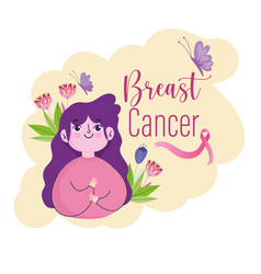 breast cancer cute girl flowers butterfly ribbon vector image