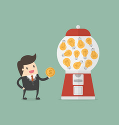 businessman get idea from candy machine vector image
