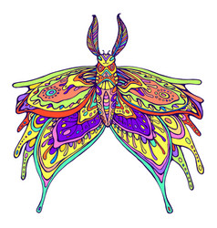 Butterfly fantasy rainbow color page vector