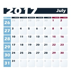 Calendar 2017 July design template Week vector