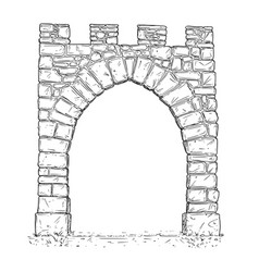 Cartoon open stone medieval decision gate vector