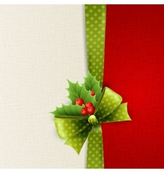 Christmas card with green polka dots bow and holly vector image