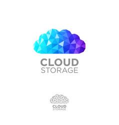 Cloud of blue crystals storage information vector