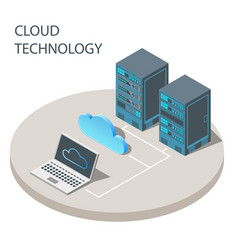 Cloud technology concept poster isometric vector