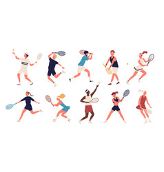 collection of men and women dressed in sports vector image