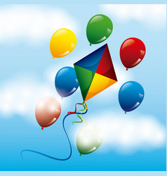 Colored bright kite and balloons flying in the sky vector