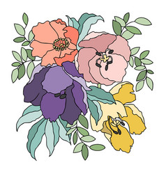 Colorful image of flowers and plants vector