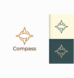 Compass logo in simple shape for outdoor business vector