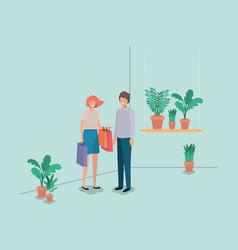 couple with houseplants in shelf vector image