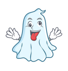 Crazy cute ghost character cartoon vector