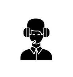 customer support black icon sign on vector image