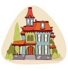Cute cartoon style house vector image