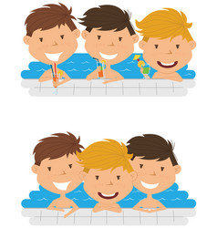 cute cheerful boys relaxing and drinking vector image vector image