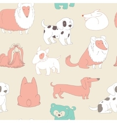Cute Dogs Pets Seamless pattern background in vector image
