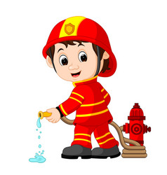 cute fireman cartoon vector image