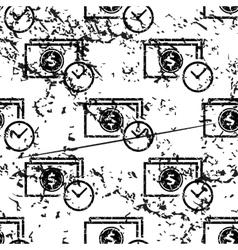 Dollar time pattern grunge monochrome vector
