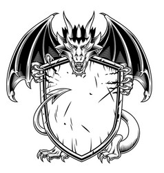 dragon with shield vector image