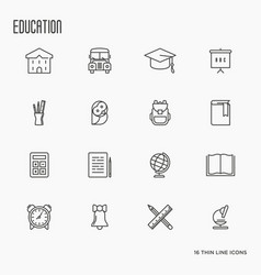 Education and learning thin line icons set vector