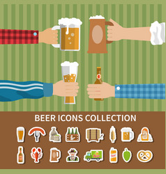 flat beer icons collection vector image