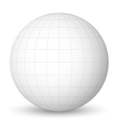 front view of blank planet earth white globe with vector image