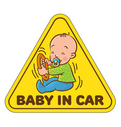 Funny small baby sitting with dummy vector