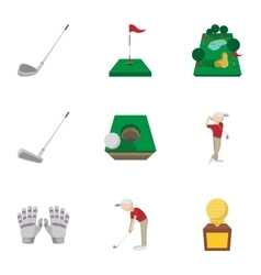 Game of golf icons set cartoon style vector image