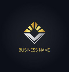 Gold square shine business logo vector