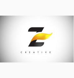 gold z letter wings logo design with golden bird vector image