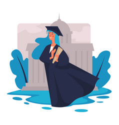 Graduation girl in academic hat and mantle with vector
