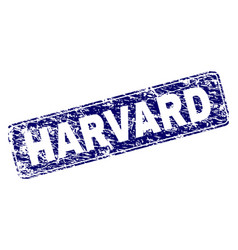Grunge harvard framed rounded rectangle stamp vector