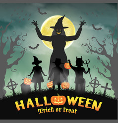 halloween kids in front witch in graveyard vector image