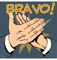 hands palm applause success text Bravo vector image