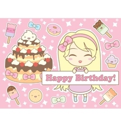 happy birthday card in kawaii style vector image