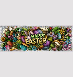 happy easter hand drawn cartoon doodles vector image