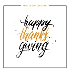 Happy Thanks Giving lettering with black splashes vector