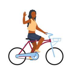 Happy woman on bike cartoon girl riding on vector
