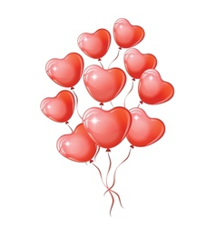 Heart shaped red balloons vector image