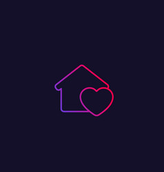 Home with heart line icon vector