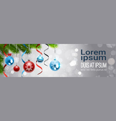 horizontal banner with colorful balls hanging from vector image