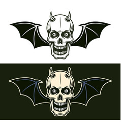 horned devil skull with bat wings in two styles vector image