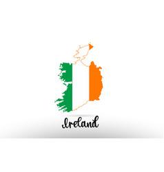 Ireland country flag inside map contour design vector