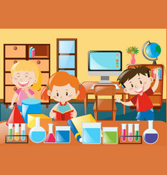 Kids learning in science classroom vector