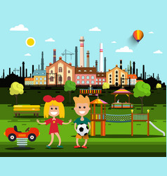 kids on playground in park with city factory on vector image