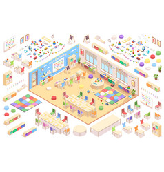 Kindergarten constructor isometric elements set vector