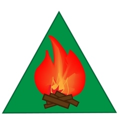 Kindle campfire sign in green triangle vector