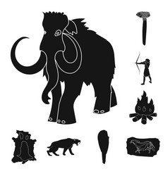 life in the stone age black icons in set vector image